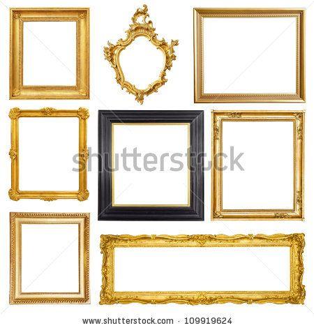 Set Of Golden Vintage Frame Isolated On White Background By Gillmar Via Shutterstock Frame Vintage Photo Frames Vintage Frames