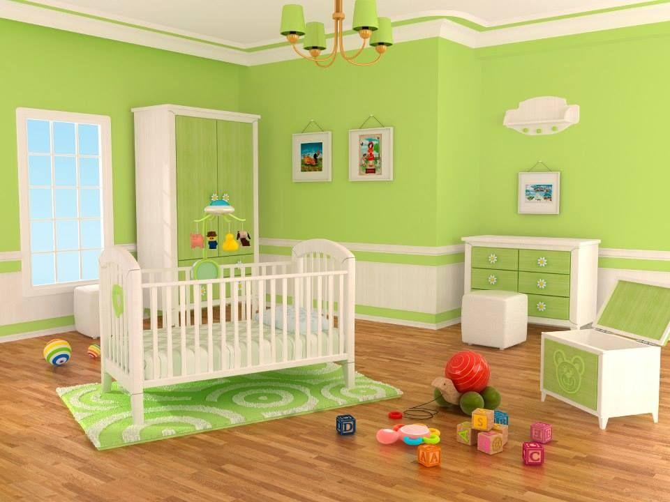 Habitacion en color verde limon  Recamaras de bebes con