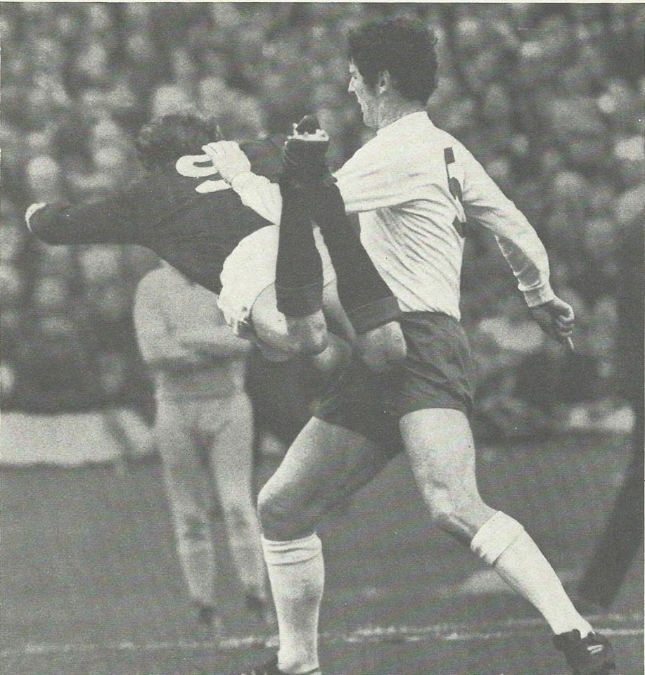 10th May 1969. England centre half Brian Labone can do nothing to stop  Scotland's Colin Stein making a dr… | England football team, Retro  football, England football
