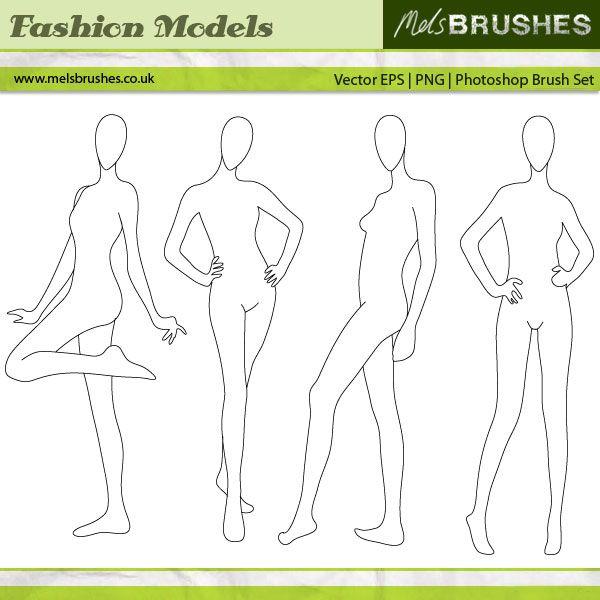 Free – Fashion Illustration vector model blanks   Mels Brushes