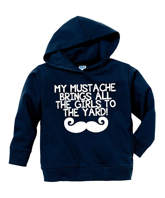 Navy 'My Mustache' Hoodie - Toddler & Boys   Daily deals for moms, babies and kids