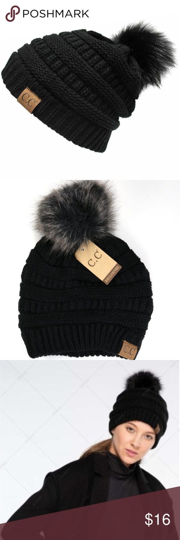 68b69e0319d Faux Fur Pom Pom CC Beanie Hats The classic beanie with a matching fur pom  is the hottest new arrival that everybody wants! Cable knit