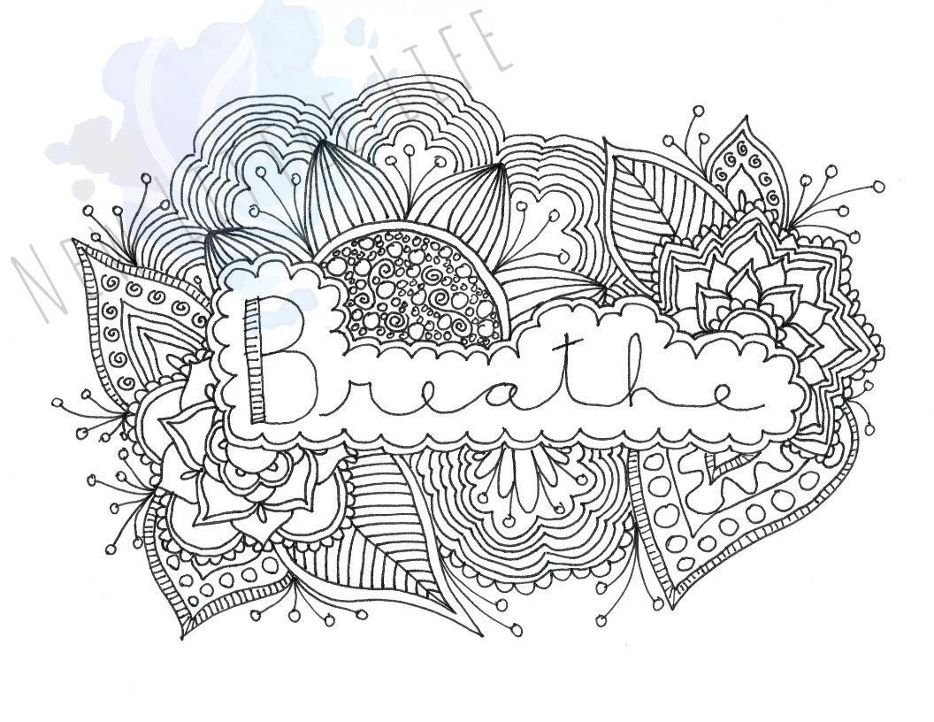 Breathe Coloring Page Digital Download Birth Art Adult