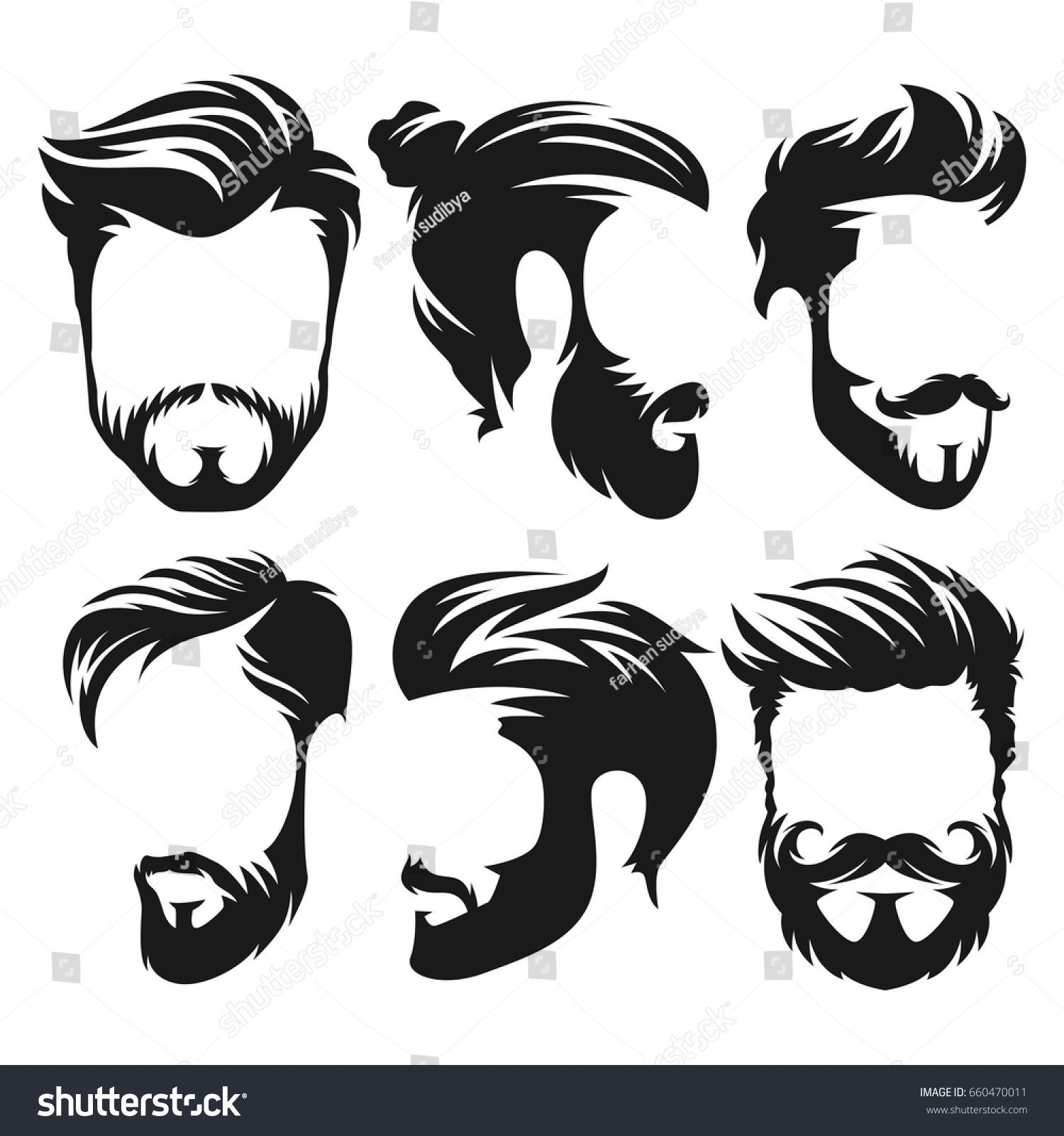 Vector Vintage Hairstyle Barber Shop Logo For Your Design Sponsored Affiliate Hairstyle Vintage Vector Barber In 2020 Hair Logo Barber Shop Barber Logo