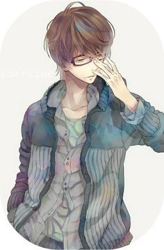 Image Result For Cute Anime Boy With Brown Hair And Blue Eyes Anime Guys With Glasses Anime Glasses Boy Boys Glasses