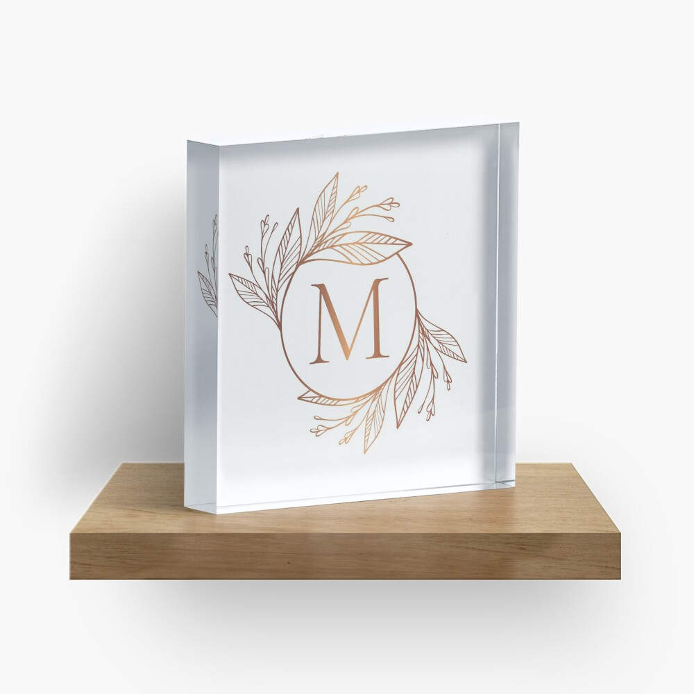 'Personalized rose gold monogram with initial letter M