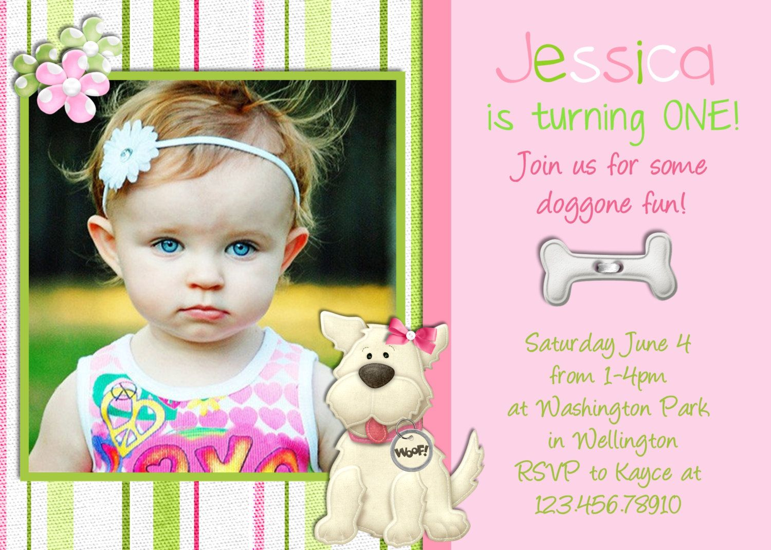 Puppy Dog Girl Birthday Invitation Photo Card Design Printable ...