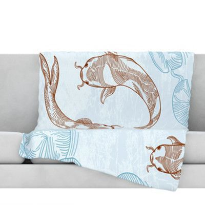 "Size Of A Throw Blanket Amusing Kess Inhouse Koi Fleece Throw Blanket Size 90"" L X 90"" W  Products"