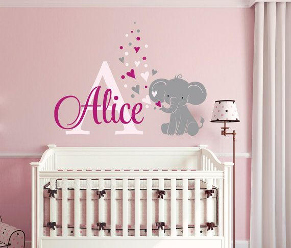 Elephant Custom Name Personalized Initial Wall Decal Sticker for Nursery Girlu0027s Room or Playroom  sc 1 st  Pinterest & Elephant Custom Name Personalized Initial Wall Decal Sticker for ...