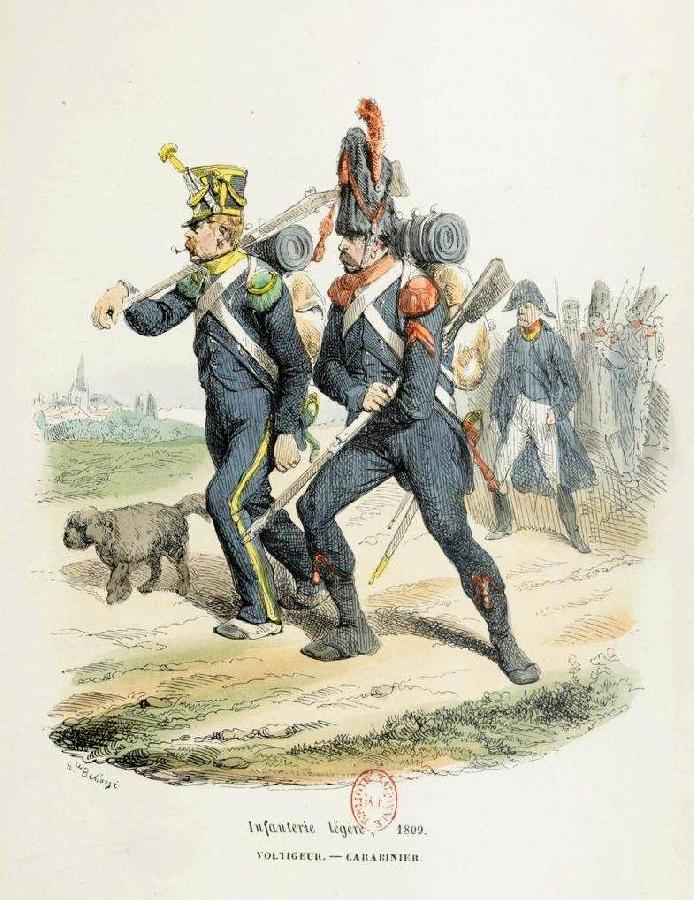 Voltigeur et Carabinier Infanterie légère (1809). - Hippolyte BELLANGÉ