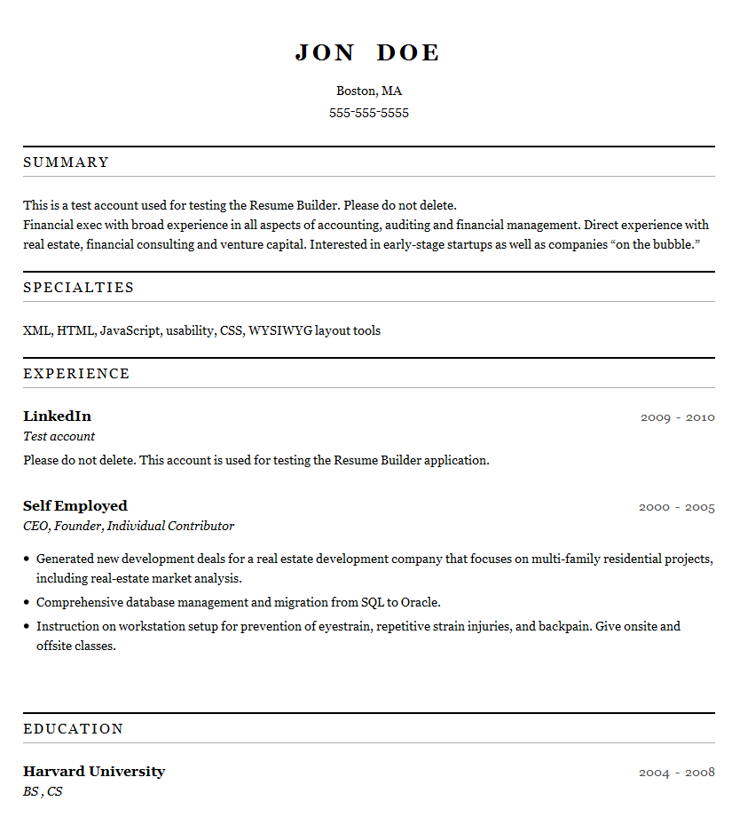 Linkedin Resume Buildercareer Resume Template Career Resume Template