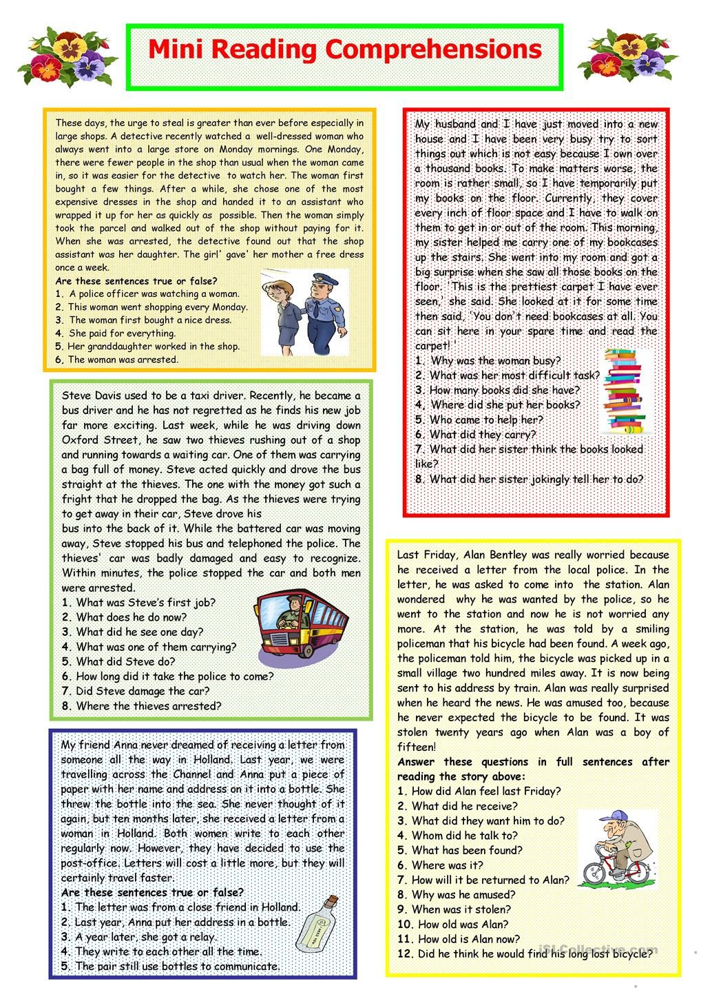 Workbooks year 8 english worksheets comprehension : Mini Reading Comprehensions | LANGUAGES | Pinterest | Reading ...