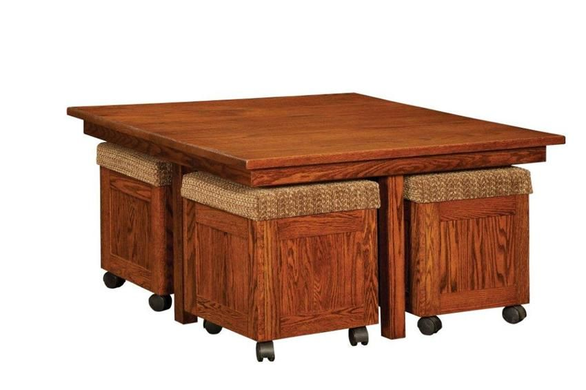 Amish Mission Hi Low Square Coffee Table And Stool Set