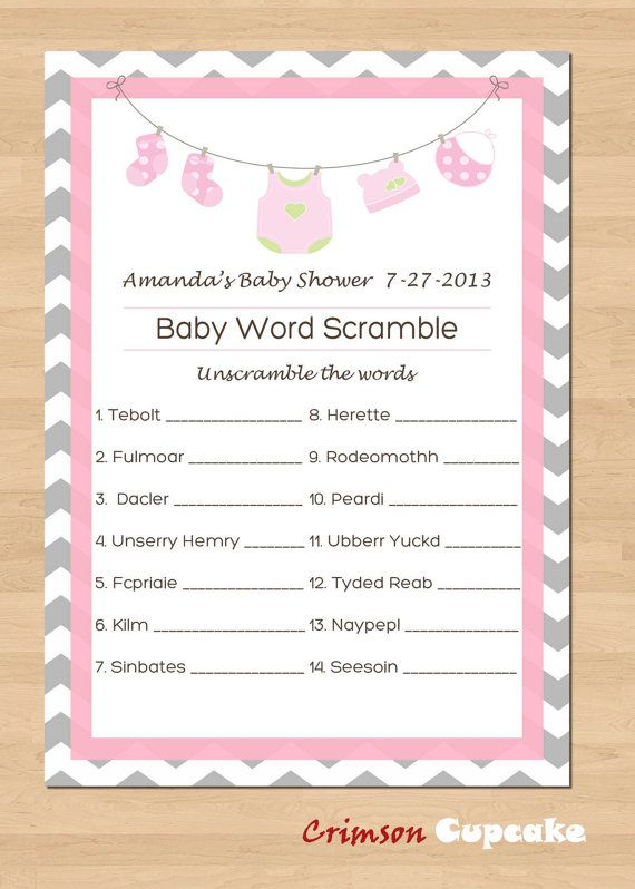 Printable Baby Shower Game WORD SCRAMBLE Custom Game Printable - baby shower agenda template