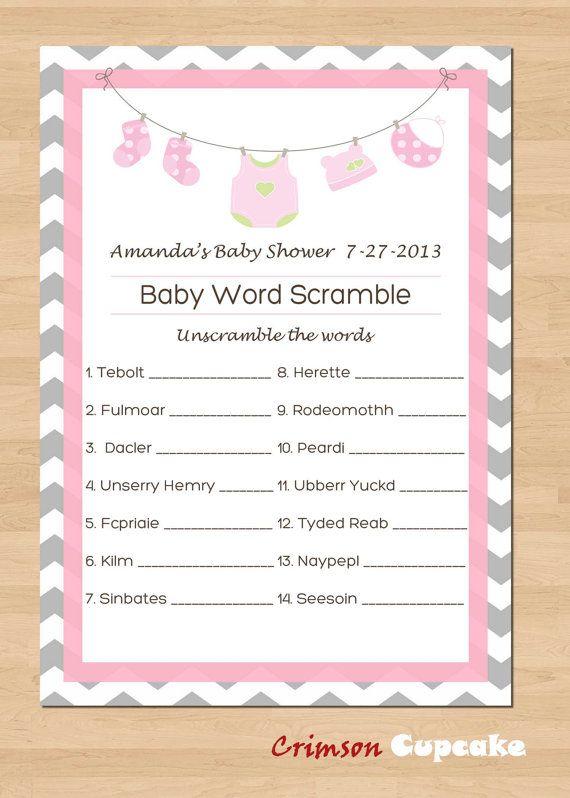 printable baby shower game word scramble custom game  printable, Baby shower invitation
