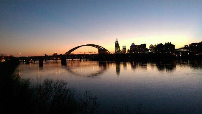 View of Cincinnati Skyline from Bellevue, Kentucky.