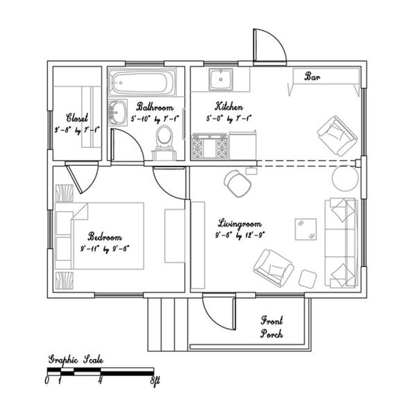 Beth S 365 Sq Ft Cozy Small Cottage In California Small House Plans Tiny House Floor Plans Tiny Cottage