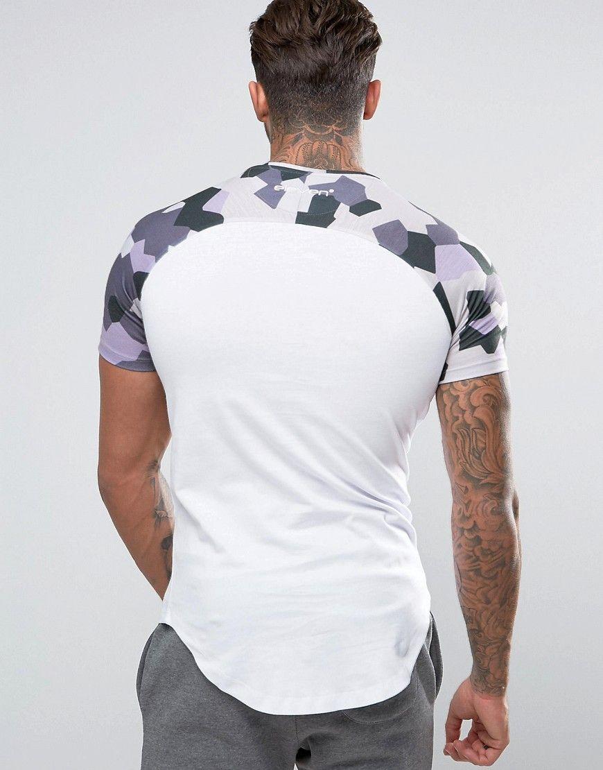 11 Degrees Raglan T-Shirt In White With Geo Camo Print - White