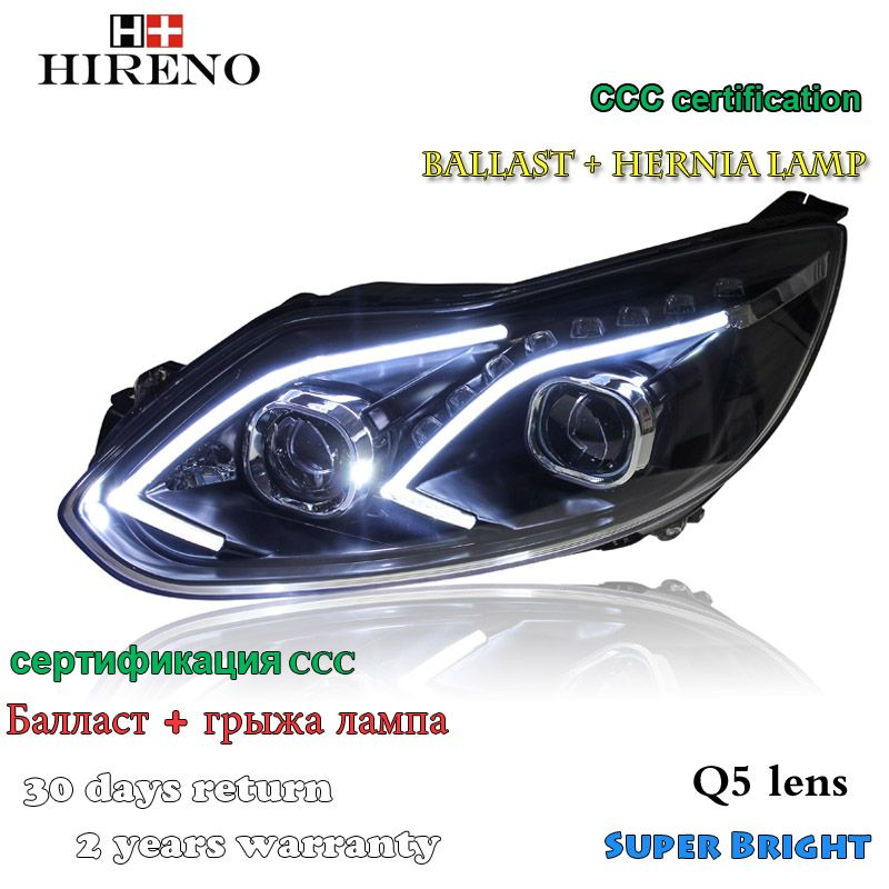 Hireno Headlamp For 2012 2014 Ford Focus Headlight Assembly Led Drl Angel Lens Double Beam Hid Xenon 2pcs Car Lights Hid Xenon Headlight Assembly
