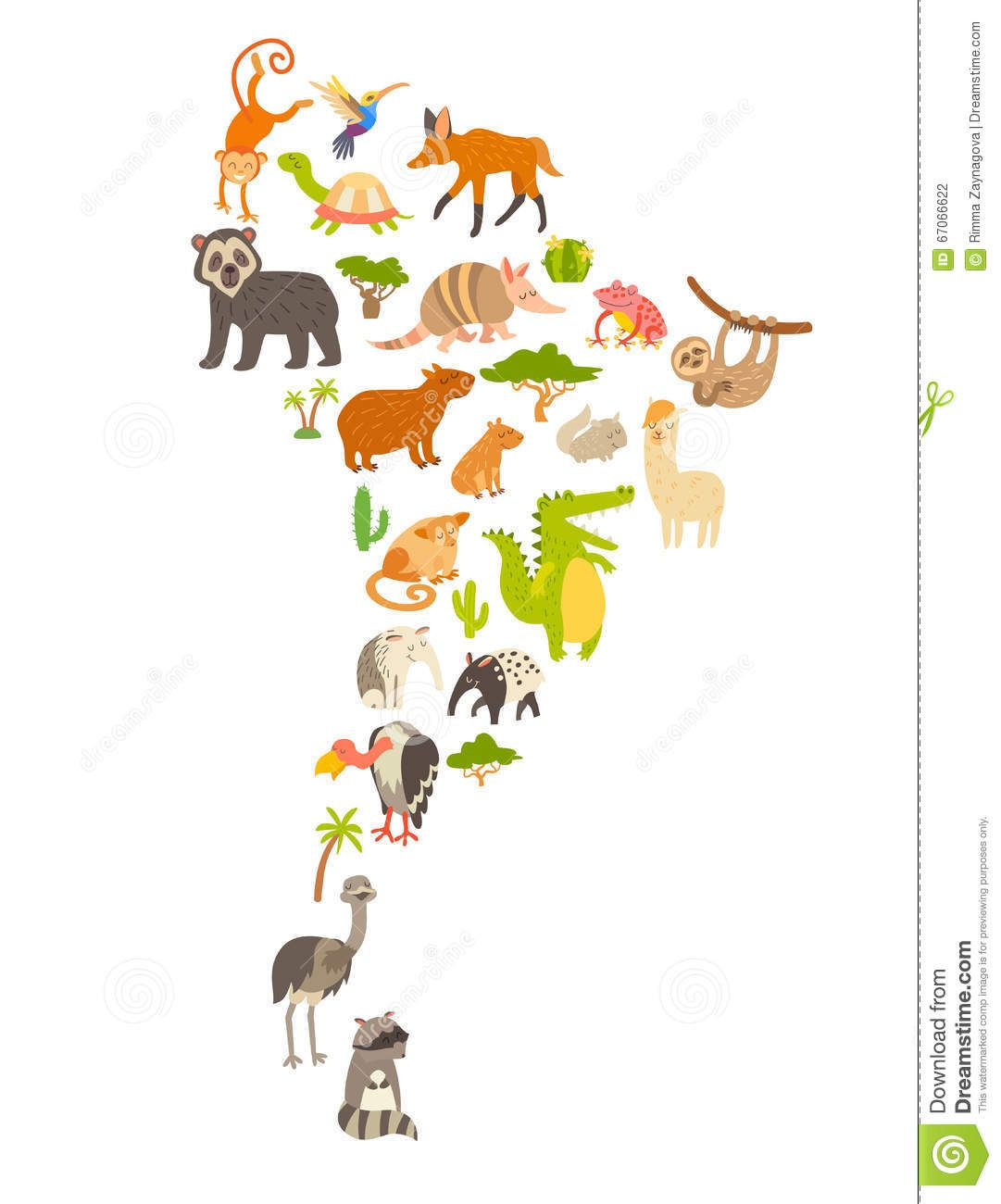 Animals World Map South America Colorful Cartoon Vector