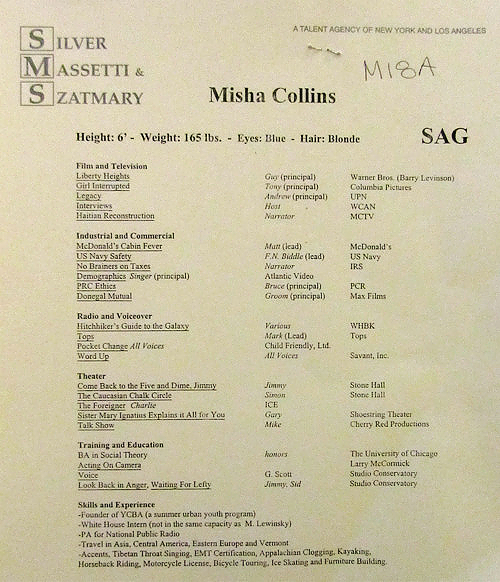 Photo of Misha Collins' Resume for fans of Misha Collins. Misha Collins old  resume