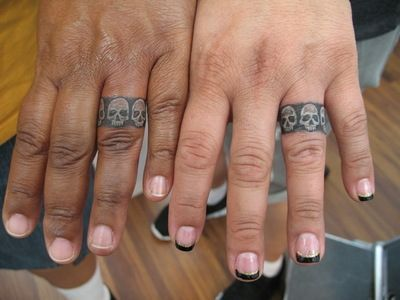 e07ad0766 His n hers skull wedding ring/band tattoos ~ so cute! | Tattoos ...