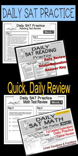 Daily Sat Reading And Math Practice Use This To Review For The New