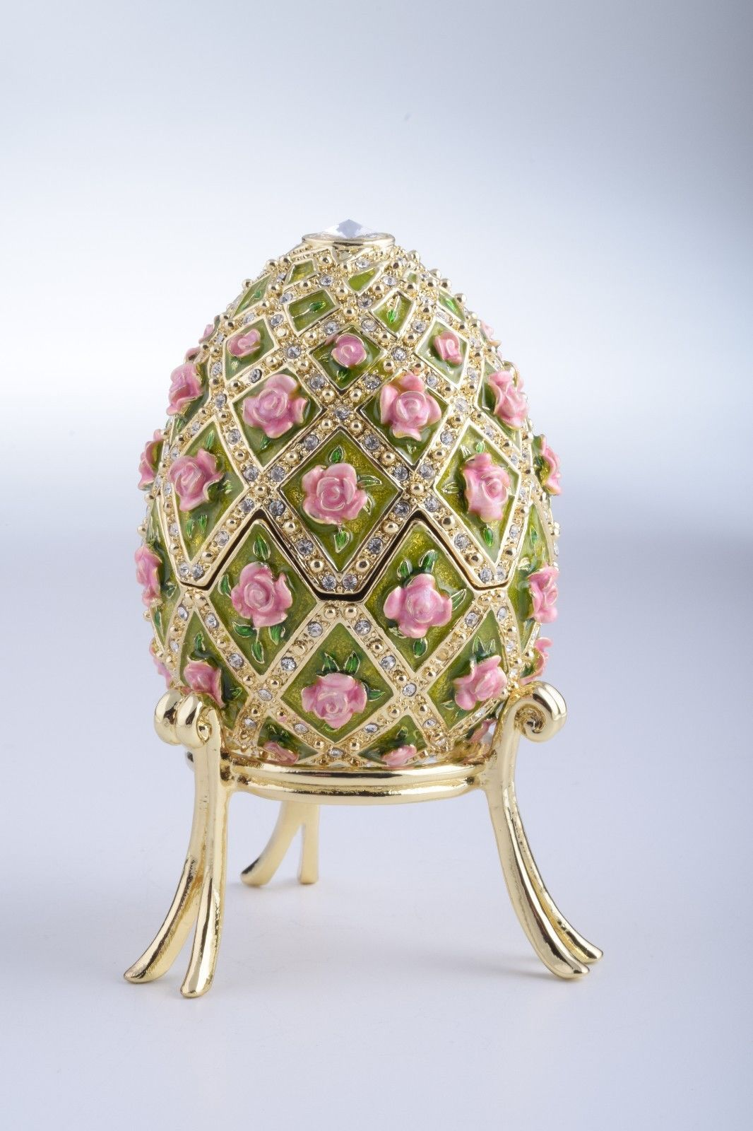 Egg with roses & MusicTrinket Box by Keren Kopal Faberge Egg Austrian Crystal