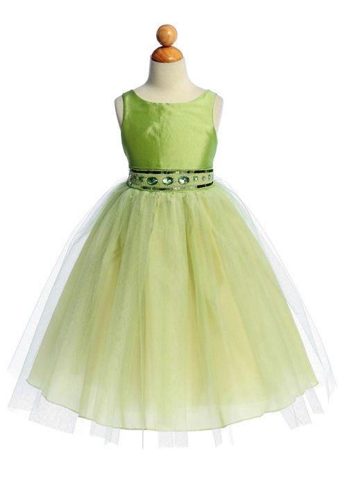 lime green flower girl dresses | dress in Taffeta and tulle. Girls ...