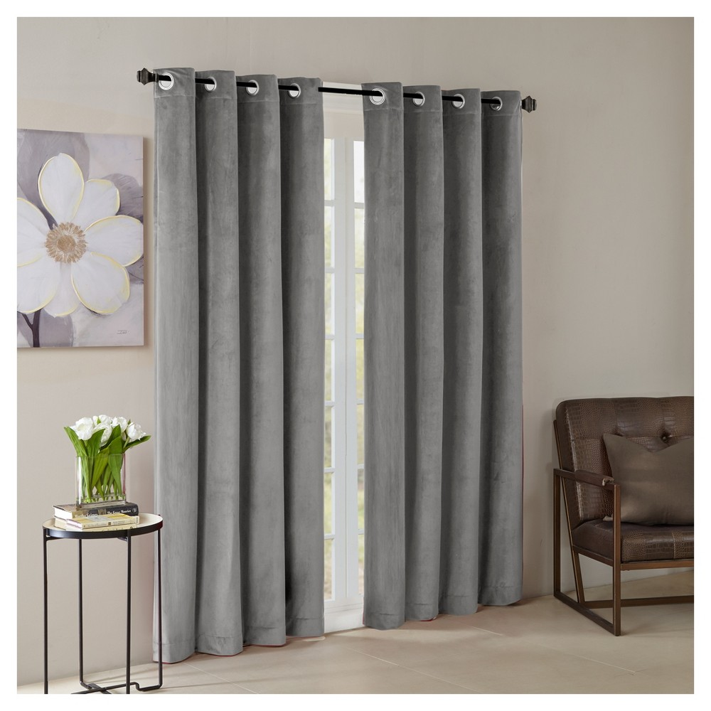 Vienna Solid Velvet Window Curtain Panel Gray 50 X84 Living Room Drapes Panel Curtains Curtains