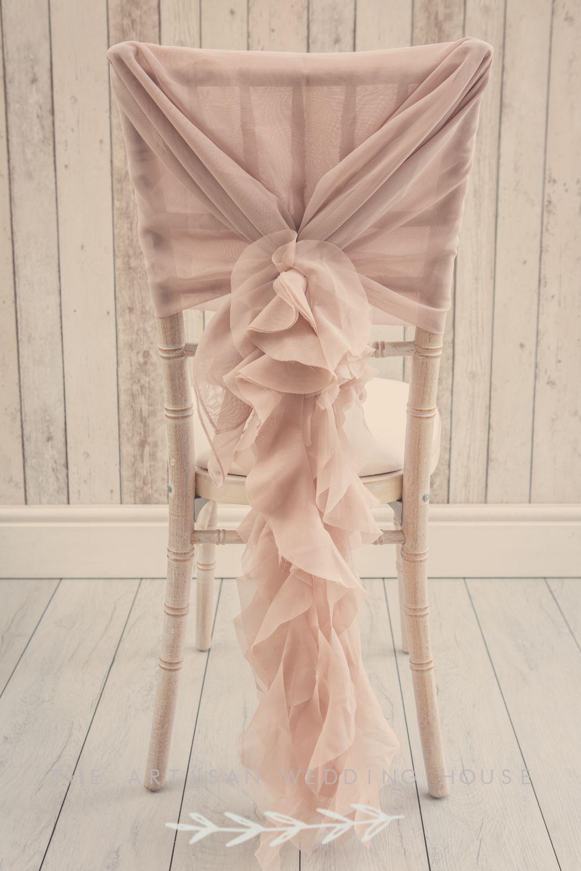 Dusky Pink Ruffle Chair Sash Unique Wedding D 233 Cor