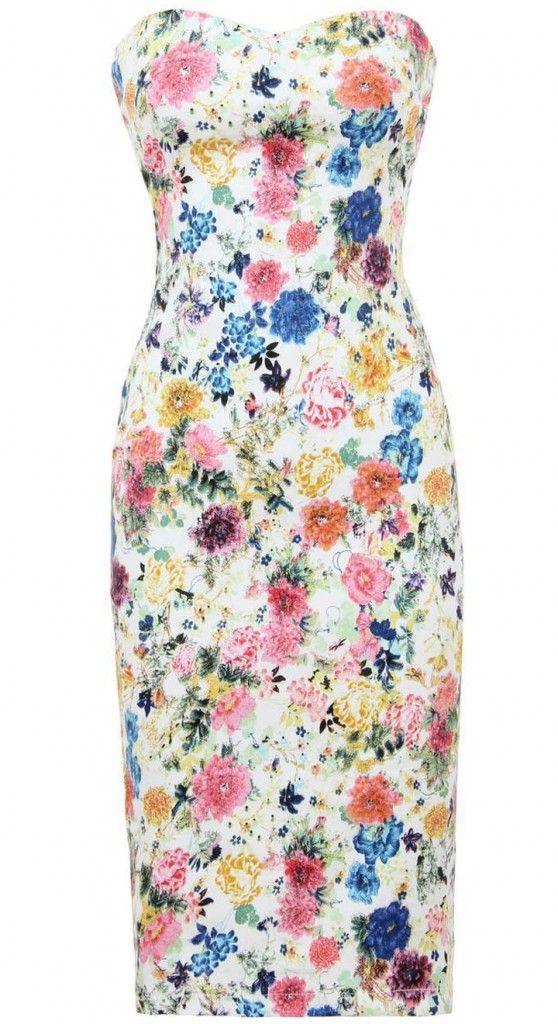 Gorsetowa Sukienka W Kwiatki Bodycon Floral Print Lovetrendy Dresses Floral Pencil Dress Strapless Floral Dress