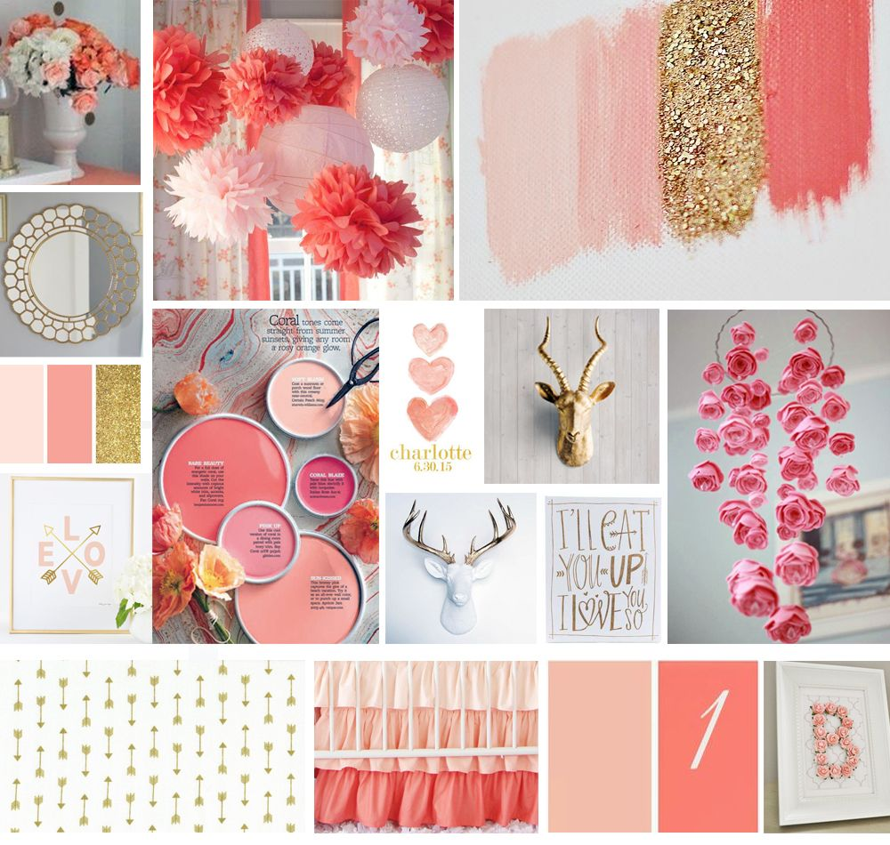 Pink Coral Gold And Grey Baby Girl Nursery Inspiration