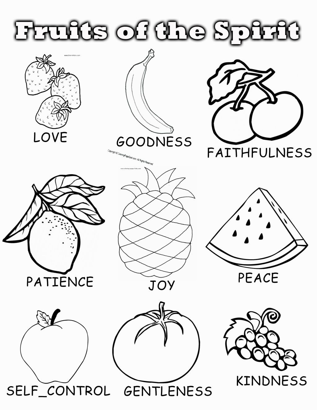 Fruit Of The Spirit Coloring Page Fruit Coloring Pages Fruit Of
