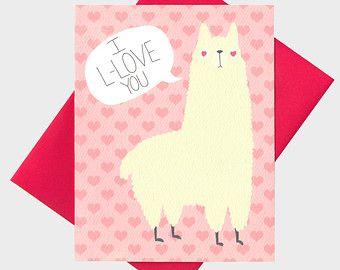 Funny Llama Valentine S Day Card Llama Card Valentines Day Card