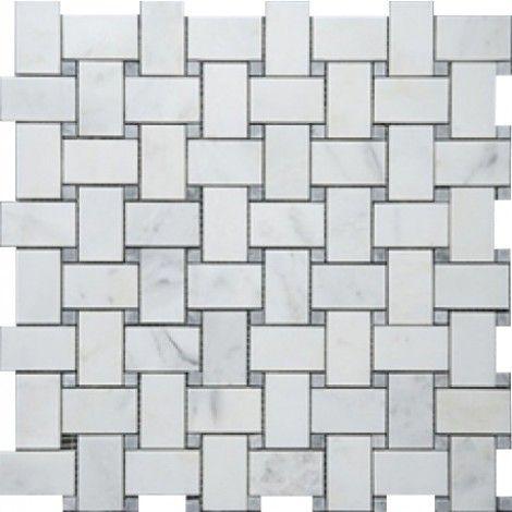 Bianco White Carrara Marble With Grey Dot Honed Basketweave Tile - Carrara basketweave tile gray dot