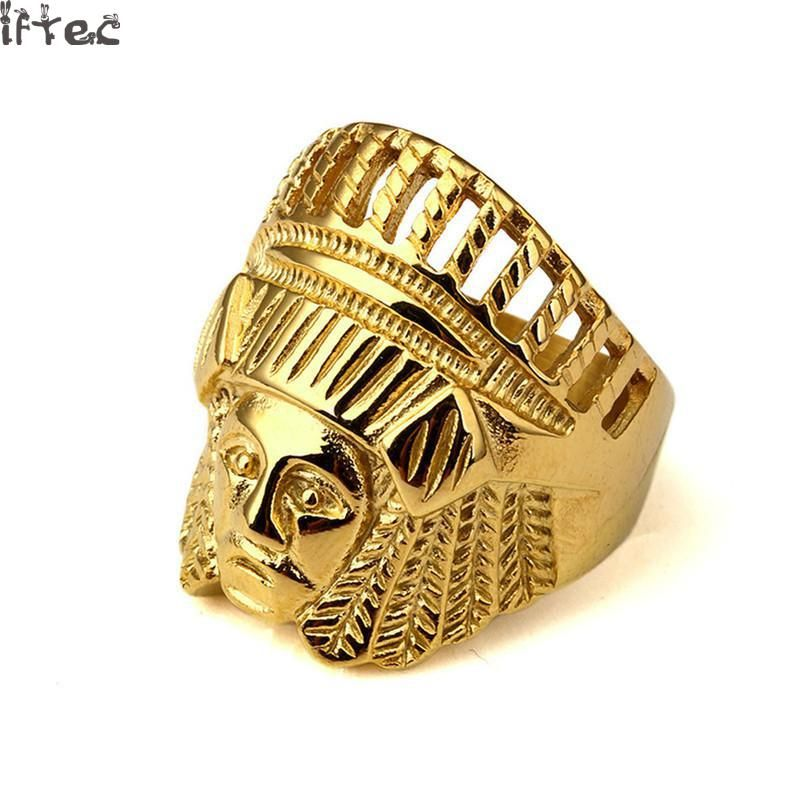 Click To Buy Iftec Men Vintage Stainless Steel Ring Hip Hop Punk Style Gold Color Ancient Maya Tribal Ind Rings For Men Mens Rings Online Hip Hop Jewelry