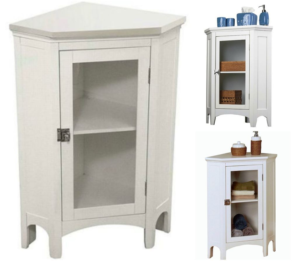 Bathroom Storage Cabinet Corner Floor Standing Cupboard Pantry ...