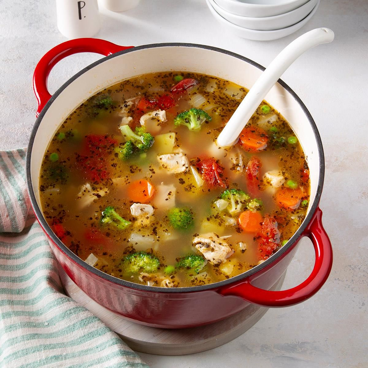 Potluck Chicken Vegetable Soup Recipe In 2020 Vegetable Soup