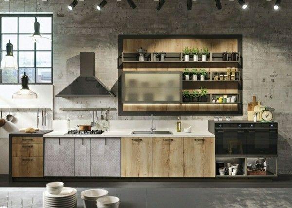 effektvolle moderne kombination küchenoberschränke und regale ...