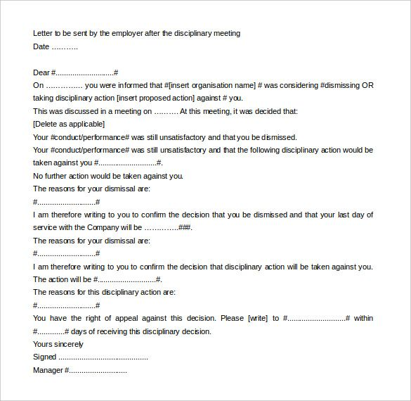 Letter-of-Employee-Disciplinary-Action-Meeting-Template-Editable - dismissal letter