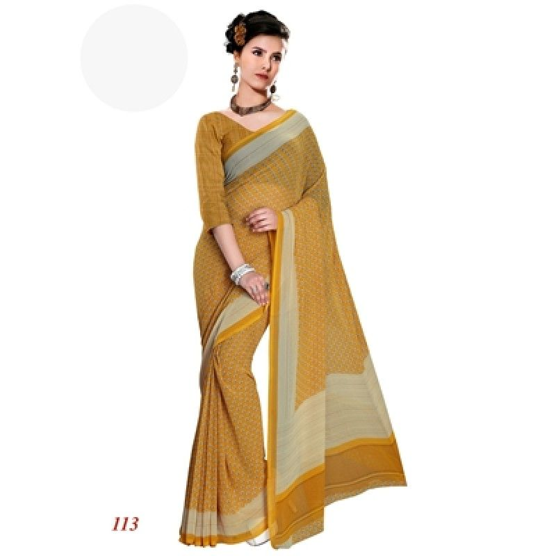 Traditional Wear Georgette Yellow Saree - RKAM113