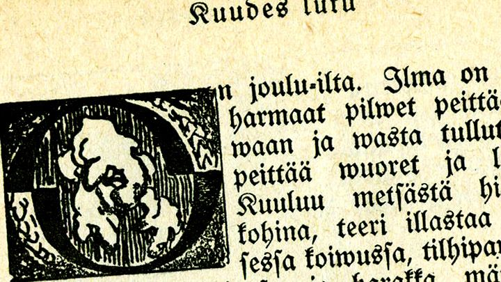Seitsemän veljestä -kirjan 6. luvun aloitus, kuvitus Akseli Gallén-Kallela (1908).