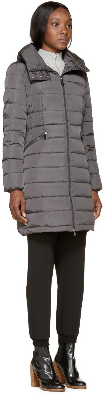 Grey Down Flammette Coat. Moncler