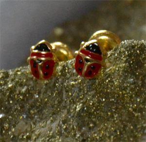 92fd412c83c2 Aretes en forma de mariquita esmaltados de tornillo.