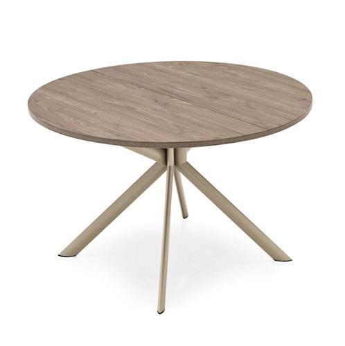Table Ronde Design Extensible Plateau Bois Vintage Et Pied Metal Central Grim Avec Images Table Ronde Design Table A Manger Ronde Extensible Table Ronde Bois
