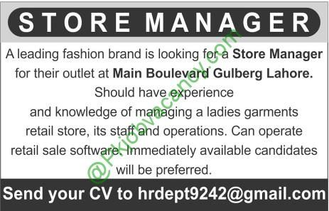 Store Manager Jobs In Main Boulevard Gulberg Lahore Jobs In - store manager job description