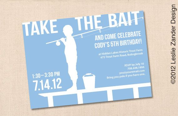 Printable Birthday Invitations For Boy ~ Fishing personalized printable birthday party invitation diy