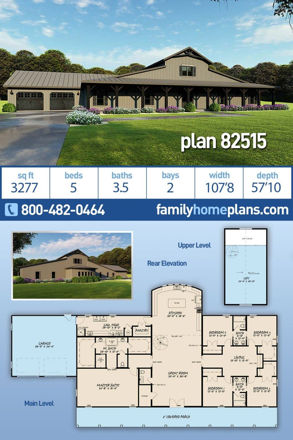 5 Bedroom Barn Style House Plan Family Home Plans Blog