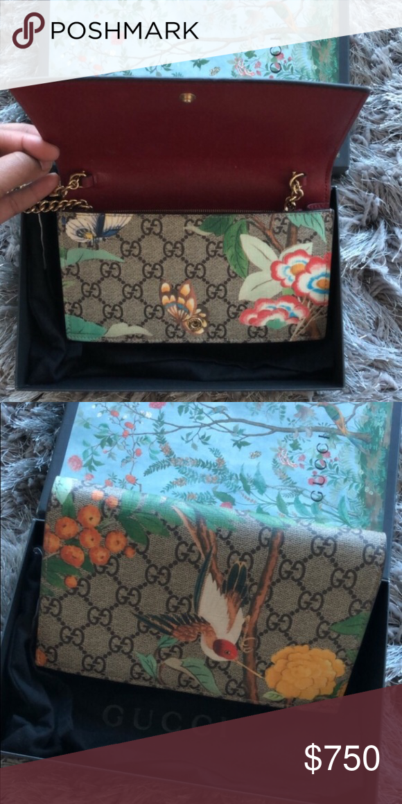 742a6134a19 GG Supreme Monogram Tian Print Mini Chain Wallet I guarantee this is an  authentic GUCCI GG